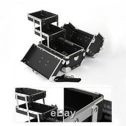 Premium Make Up Box Black Cosmetic Box Professional Makeup Train Case Size Small