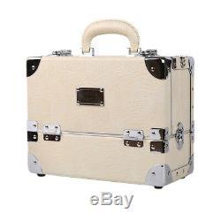 Premium Make Up Box Glam Beige Cosmetic Box Professional Makeup Train Case
