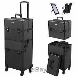 Pro 2in1 Rolling Makeup Case Cosmetic Train Lockable Box 4 Wheel 360° Aluminum