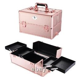 Pro 4in1 Byootique Rolling Makeup Train Case Makeup Artist Organizer Rose Gold