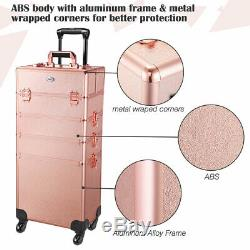 Pro AW Rose Gold 4in1 Rolling Makeup Train Case Makeup Artist Cosmetic Organizer