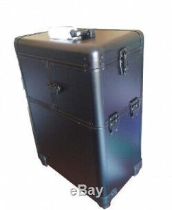 Pro Aluminium Rolling Cosmetic Makeup Train Case Beauty Luggage Organiser Black
