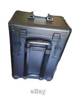 Pro Aluminum Rolling Cosmetic Makeup Train Case Beauty Luggage Organizer Black