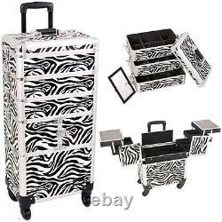 Pro Aluminum Rolling Makeup Case Cosmetic Organizer Storage Sunrise Trolley 4n1