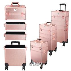 Pro Byootique Rose Gold 4in1 Rolling Makeup Train Case Makeup Artist Organizer