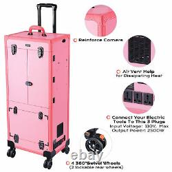 Pro Makeup Case Rolling Cosmetic Train Case Mirror Lighted Lock Large Drawer