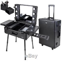 Pro Makeup Trolley Cosmetic Box Train Case Organizer with Light/Support/Mirror