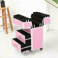 Pro Rolling Aluminum Makeup Case Cosmetic Train Box Trolley Storage Lockable