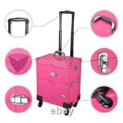 Pro Rolling Makeup Case Cosmetic Train Box Trolley Organizer Mirror Beauty Salon