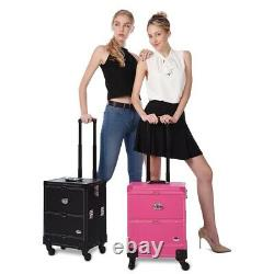 Pro Rolling Makeup Case Cosmetic Train Box Trolley Storage Lockable Organizer