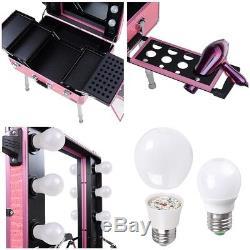 Pro Rolling Studio Makeup Case Light Leg Mirror Cosmetic Artist Train Table Pink