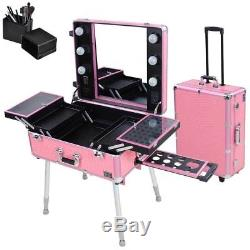 Pro Rolling Studio Makeup Case with Light Leg Mirror Cosmetic Artist Train Table