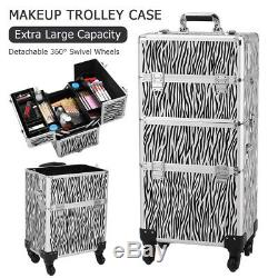 Pro Train Case 3 in 1 Rolling Makeup Trolley Salon Cosmetic Organizer With Wheel