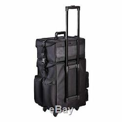 Professional 2 in 1 Black Oxford Rolling Makeup Train Case Cosmetic Stroage Bag