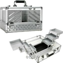 Professional Acrylic Makeup Train Case Organizer with 6 Trays and Brush Holders