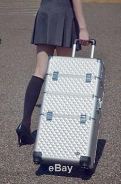 Professional Aluminum 2 in 1 Rolling Makeup Train Case Cosmetic Organizer