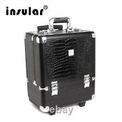 Professional Aluminum Makeup Case PU Aluminum Trolley Cosmetic Case Makeup Bag
