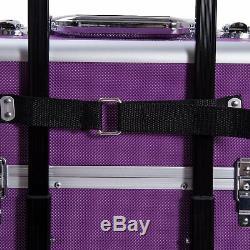 Professional Aluminum Rolling Cosmetic Makeup Train Case Trolley Organizer Box