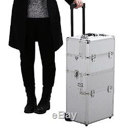 Professional Artist Rolling Trolley Makeup Beauty Train Case Cosmetic Organizer