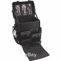 Professional Black Rolling Makeup Artist Trolley Train Case Soft Sided Storage