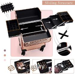 Professional Extra Large Makeup Trolley Lockable Rolling Train Case Artist Make