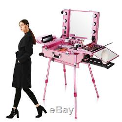 Professional LED Lighted Mirror Rolling Trolley Train Makeup Case Box Travel Kit