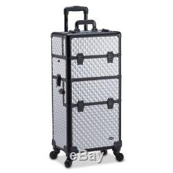 Professional Makeup Artist 2 in 1 Rolling Makeup Train Case Cosmetic