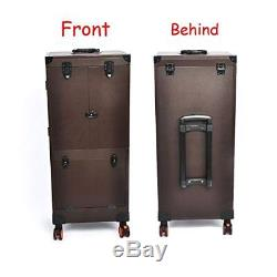 Professional Makeup Artists Rolling Train Cases LARGE Leather Hair Stylist BROWN
