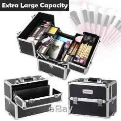 Professional Makeup Rolling Train Case 3 in 1 Travel Box Cosmetic Organizer NEW