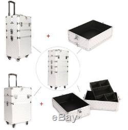 Professional Makeup Train Case Portable Aluminum Cosmetic Jewelry Silver