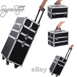 Professional Makeup Train Case, Portable Aluminum Rolling Cosmetic Storage
