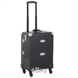 Professional Makeup Trolley Train Case With Mirror, Lock & Detachable Wheels New