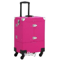 Professional Makeup Trolley Train Case with Lock, Mirror, & Detachable Wheels