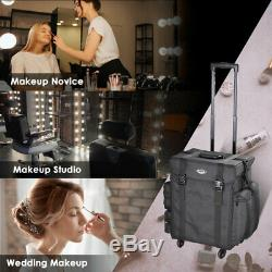 Professional Rolling Makeup Case Soft Nylon Cosmetic Aluminum Trolley Xmas Gift