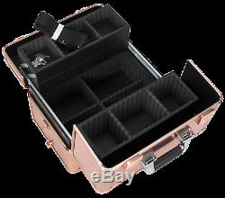 Professional Rolling Makeup Case Trolley Beauty Train Case 3 Extendable Trays