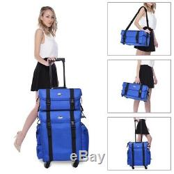 Professional Rolling Makeup Train Case Artist Trolley Soft Sided Storage Blue