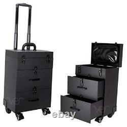 Professional Rolling Makeup Train Case, Hair Stylist, Nail & Makeup Black