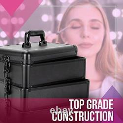 Professional Rolling Makeup Train Case, Heavy Duty Hair Black Rolling Case