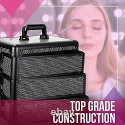 Professional Rolling Makeup Train Case, Heavy Duty Hair Stylist Black Krystal
