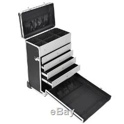 Professional Rolling Travel Makeup Case Jewelry Drawers Aluminum Code Lock