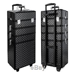 Qivange Makeup Train Case, 4 in 1 Professional Rolling Makeup Trolley Case Case/w