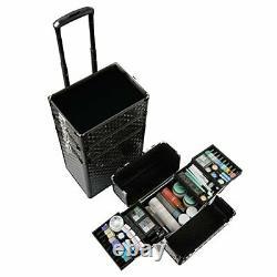 Qivange Makeup Train Case4 in 1 Professional Rolling Makeup Trolley Case Alum