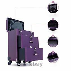 Qivange Professional Nail Polish Organizer Large Makeup Train Case Rolling Ma