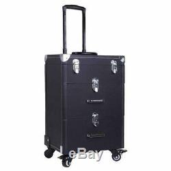 Qivange Professional Nail Polish Organizer, Large Makeup Train Case, Rolling Mak