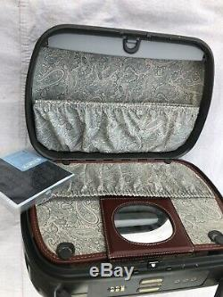 RARE Samsonite Travel Leather Luggage FRENCH makeup train case vtg NWT France