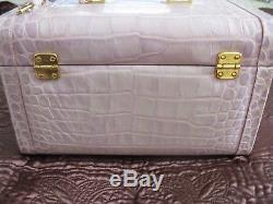 RARE Vintage Dooney & Bourke Lavender Nile Train Case Travel Makeup Vanity Key