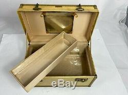 RARE Vintage Hartmann Skymate Vellum Leather Train Case Makeup Beige 40's 50's