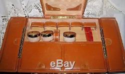 RARE Vintage SHORTRIP Brown Leather Train Case Jewelry Makeup Luggage 1940's