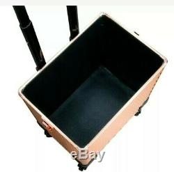 ROLLING COSMETIC MAKEUP TRAIN CASE 4 REMOVABLE WHEELS WithDIVIDERS ROSE GOLD NEW