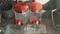 Rare Antique Vtg Art Deco Train Case Makeup w Mirror Glass Jars Bottles + KEY